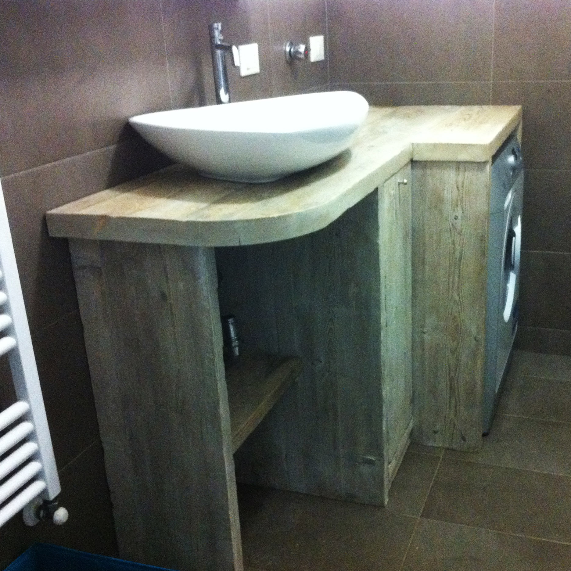 Piano Per Mobile Bagno mobile per il bagno in legno di recupero - falegnameria bastia